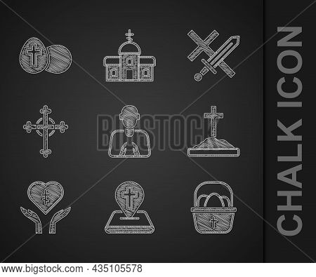 Set Hands In Praying Position, Location Church Building, Basket With Easter Eggs, Grave Cross, Relig