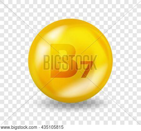 Vitamin B7 Biotin. Vitamin Complex Illustration Concept. B7 Biotin Pill Capsule. 3d Yellow Drug Nutr