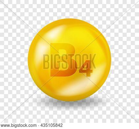 Vitamin B4 Choline. Vitamin Complex Illustration Concept. B4 Choline Pill Capsule. 3d Yellow Drug Nu