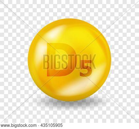 Vitamin D5 Sitocalciferol. Vitamin Complex Illustration Concept. D5 Sitocalciferol Pill Capsule. 3d