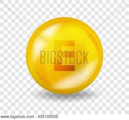 Vitamin E Tocotrienol. Vitamin Complex Illustration Concept. E Tocotrienol Pill Capsule. 3d Yellow D