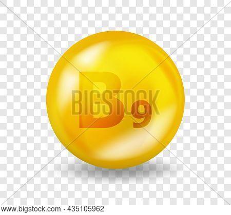 Vitamin B9 Folic Acid. Vitamin Complex Illustration Concept. B9 Folic Acid Pill Capsule. 3d Yellow D