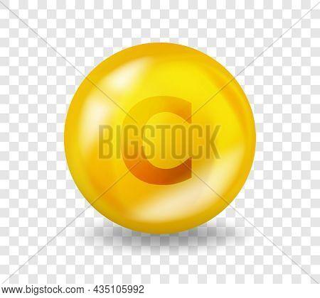 Vitamin C Ascorbic Acid. Vitamin Complex Illustration Concept. C Ascorbic Acid Pill Capsule. 3d Yell