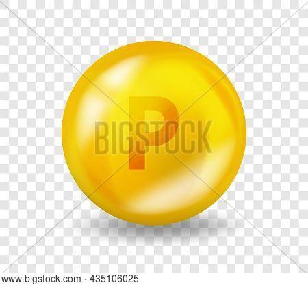 Vitamin P Flavonoid. Vitamin Complex Illustration Concept. P Flavonoid Pill Capsule. 3d Yellow Drug