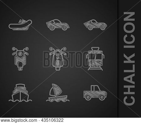 Set Scooter, Yacht Sailboat, Pickup Truck, Tram And Railway, Cruise Ship, Car And Rafting Icon. Vect