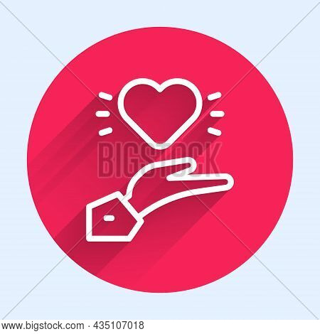 White Line Pleasant Relationship Icon Isolated With Long Shadow. Romantic Relationship Or Pleasant M