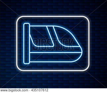 Glowing Neon Line Train And Railway Icon Isolated On Brick Wall Background. Public Transportation Sy