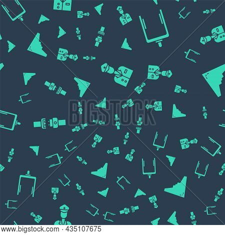Set Pilot, Metal Detector In Airport, Safety Belt And Jet Fighter On Seamless Pattern. Vector