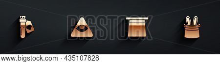 Set Bottle With Love Potion, Masons, Magic Hat And Magician And Rabbit Ears Icon With Long Shadow. V