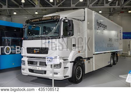 Truck Kamaz-65208 With Hydrogen Fuel Cells As Fuel. Hydrogen Vehicle At The Kamaz Stand At The Inter