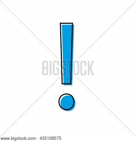 Blue Exclamation Icon. Speech Sign.danger Mark. Important Notice. Simple Flat Design. Vector Illustr
