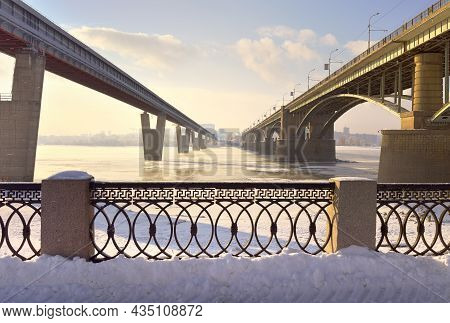 Bridges Over The Ob In Novosibirsk. October And Metro Bridges With Michael's Waterfront In The Winte