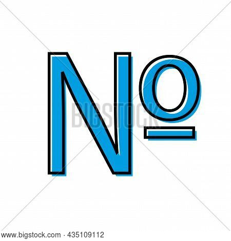 Blue Number Icon. Computer Numero Sign. Math Element. Business Concept. Hand Drawn. Vector Illustrat