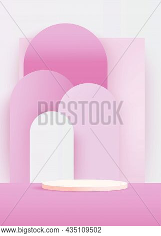 Minimal Scene With Pink Podium And Abstract Pink Background Scene Studio Or Pedestal For Display, Ge