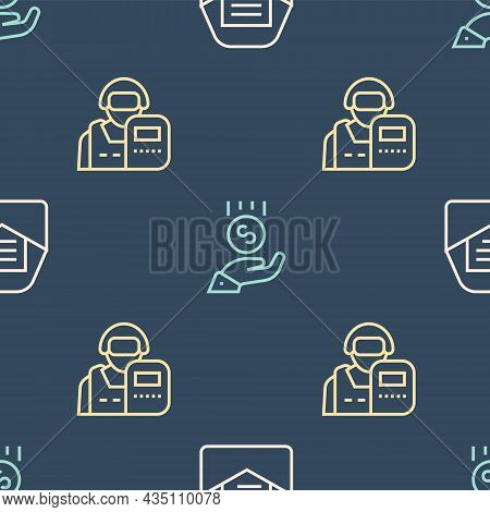 Set Line Mail And E-mail, Police Officer And Coins On Hand Minimal Wage On Seamless Pattern. Vector