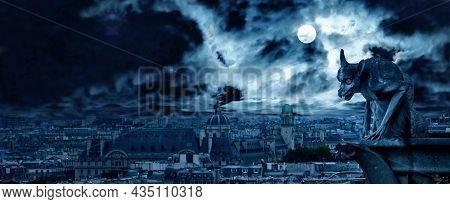 Gargoyle Of Notre Dame De Paris On Halloween, France. Fantasy Panoramic View Of Creepy Paris, Skylin