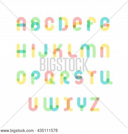 Vector Alphabet Font With Rounded Shapes. Set Of Multicolored English Letters. Abc With Smooth Curve