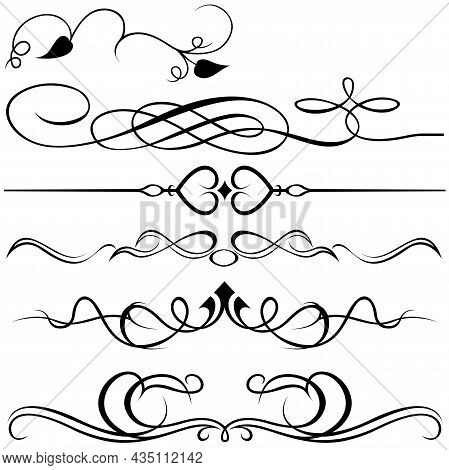 Calligraphic Design Elements - Dividers Or Separators Isolated On White Background, Vector Illustrat