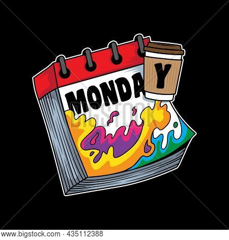 Illustration Design Coffee Mood Booster On Monday Humor In Flat Cartoon Style. Good For Logo, Backgr