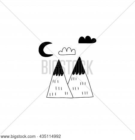 Doodle Mountains. Black Line Hand Drawn Scandinavian Style Nature Landscape. Scandi Simple Design Ob