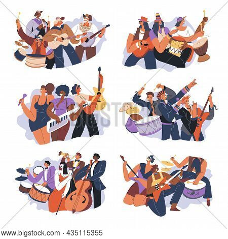 Music Bands Playing Songs On Contest Or Scene