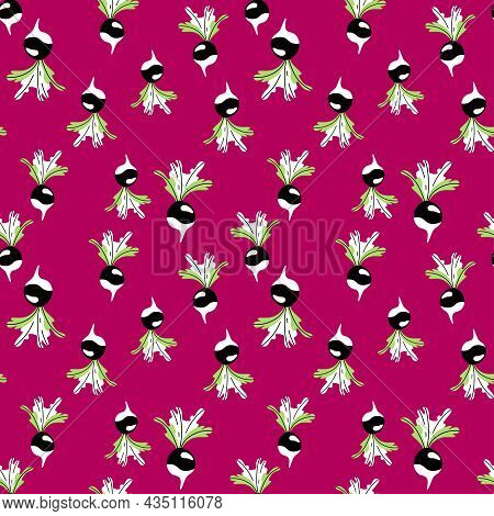 Bold Colors Crazy Roots With Leaves Seamless Pattern Vector. Funny Cartoon Black Radish Or Beet Vege
