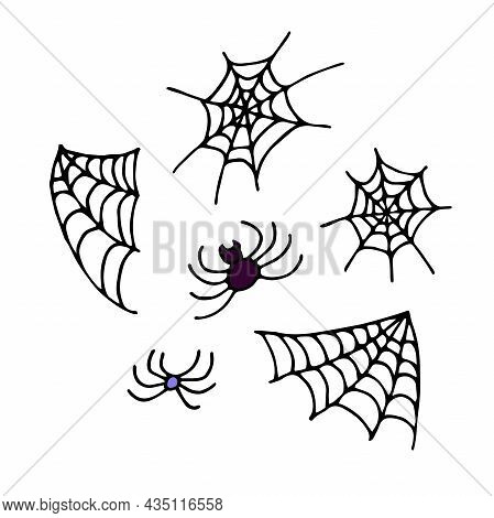 Doodle Spiderweb And Spider Set. Hand Drawn Black Cobweb Isolated On White Background. Scary Cute Si
