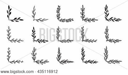 Corner Flourish Border Set. Hand Drawn Doodle Style Corner With Rustic Floral Element. Vector Illust