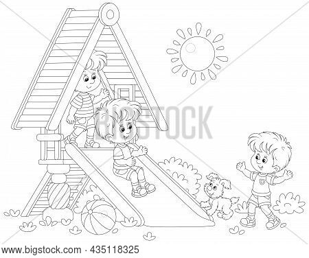 Happy Little Kids Playing On A Colorful Toy Slide On A Playground In A Summer Park On A Sunny Day, B