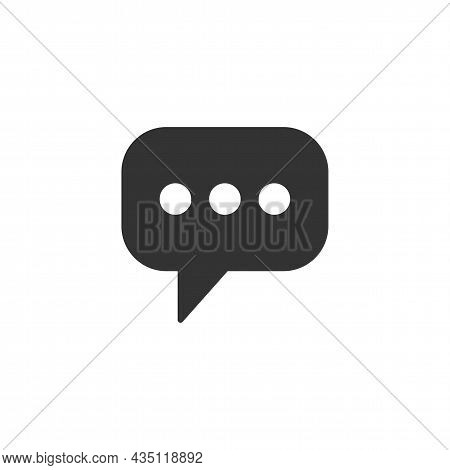 Chat Message Related Glyph Icon, Chat Speech Bubble, Social Media Message. Chatting Or Messaging Bub