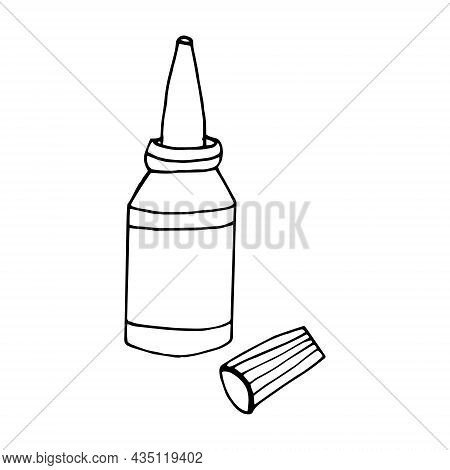 Drops In A Bottle Hand Drawn Doodle. Vector, Scandinavian, Nordic, Minimalism, Monochrome. Icon. Med