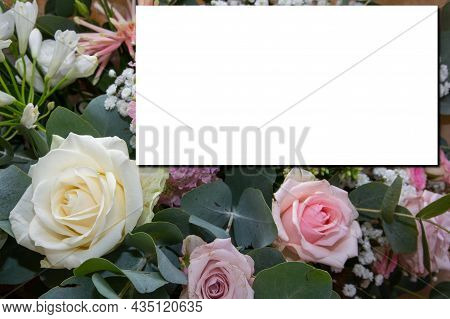 Mock-up Wedding Pastel Flowers Roses Bouquet With White Paper Empty Space For Marriage Text Mock Up