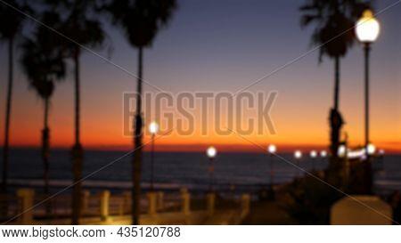 Blurred Palms Silhouette, Twilight Sky, California Usa, Oceanside Pier. Dusk Gloaming Nightfall Atmo