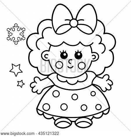 Coloring Page Outline Of Cute Toy Doll. Coloring Book For Kids