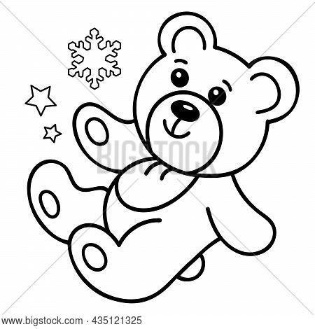 Coloring Page Outline Of Little Toy Teddy Bear. Coloring Book For Kids