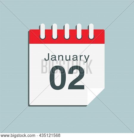 Icon Day Date 2 January, Template Calendar Page