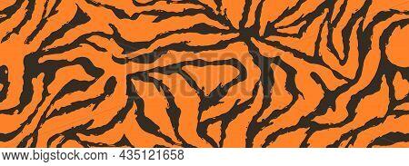 Texture Of Bengal Tiger Fur, Orange Stripes Pattern. Animal Skin Print. Safari Seamless Background.