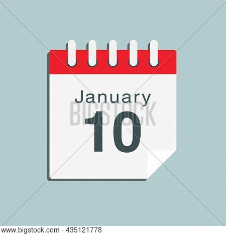Icon Day Date 10 January, Template Calendar Page