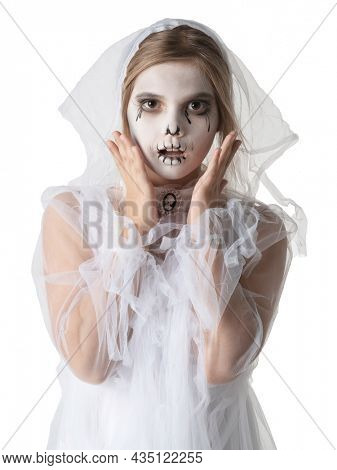 Scared Little girl in Halloween ghost costume studio isolated on white background