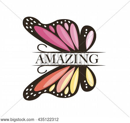 Amazing Text And Pink Butterfly Vector Illustration Design For Fashion Graphics, T Shirt Prints, Pos