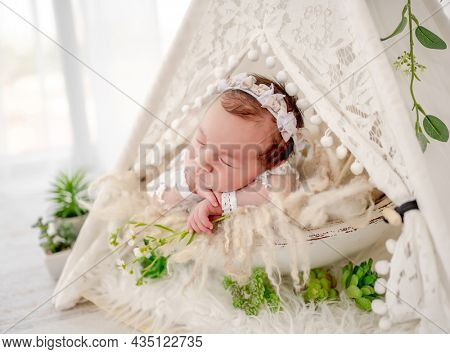 Adorable newborn baby girl wearing beautiful dress and wreath lying in hut wigwam with plant decoration holding hands under her cheeks in studio. Cute infant child napping on fur closeup portrait