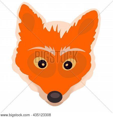 Cute Fox Muzzle Of A Redhead With A White. Fox Head Emoji Isolated On White Background. Cartoon Illu