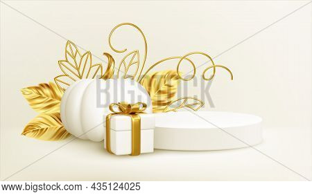 3d Realistic White Gold Pumpkin With Golden Leaves, Product Podium And Gift Box Isolated On White Ba