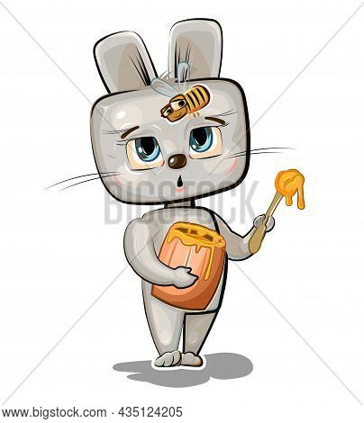 Cartoon Hare With A Sweet Tooth Eating Honey From A Little Wooden Barrel. Rabbit Afraid Of The Bee.