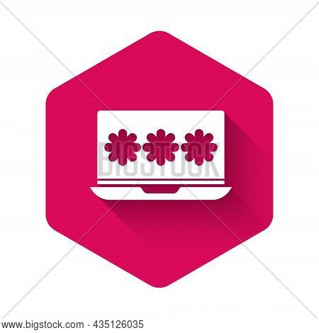 White Laptop With Password Notification Icon Isolated With Long Shadow. Security, Personal Access, U