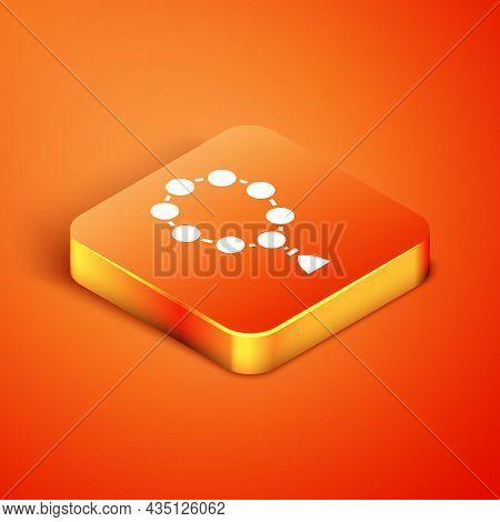 Isometric Rosary Beads Religion Icon Isolated On Orange Background. Vector Illustration