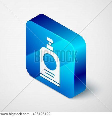Isometric Hand Sanitizer Bottle Icon Isolated On Grey Background. Disinfection Concept. Washing Gel.