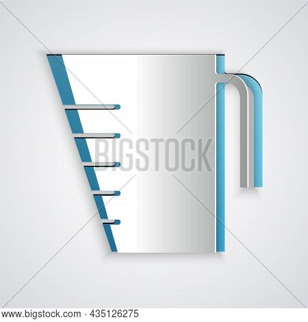 Paper Cut Measuring Cup To Measure Dry And Liquid Food Icon Isolated On Grey Background. Plastic Gra