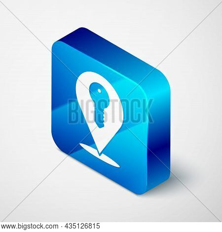 Isometric Location Key Icon Isolated On Grey Background. The Concept Of The House Turnkey. Blue Squa