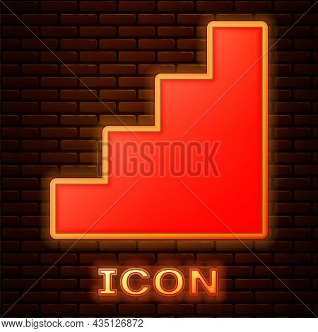 Glowing Neon Staircase Icon Isolated On Brick Wall Background. Vector